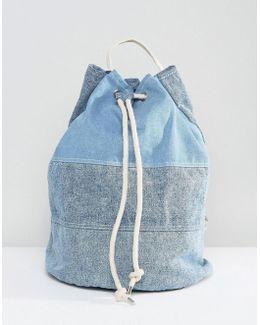 Oversized Drawstring Denim Duffle Bag