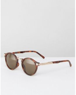 Vintage Round Sunglasses In Tort With Gold Detailing