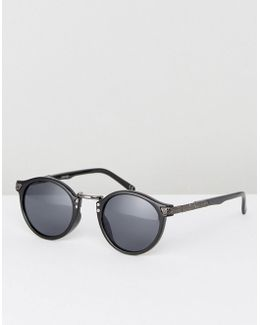 Vintage Round Sunglasses In Black With Arm Detailing