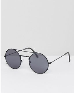 Round Sunglasses In Gunmetal With Flat Lens