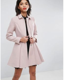 Swing Coat With Full Skirt And Zip Front