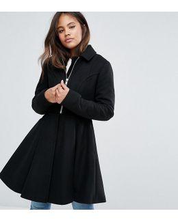 Swing Coat With Full Skirt And Belt