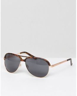 Aviator Sunglasses In Matte Tort With Gold Metal Arms