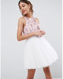 Embellished Crop Top Mini Dress With Tulle Skater