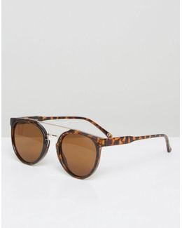 Round Sunglasses In Tort With Gold Brow Bar