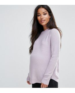 Jumper In Fluffy Yarn With Crew Neck