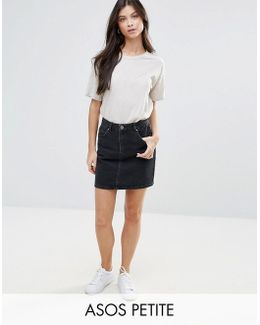 Denim Original High Waisted Skirt In Washed Black