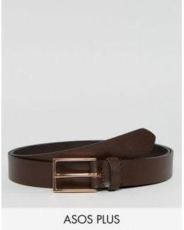 Plus Smart Slim Leather Belt In Brown