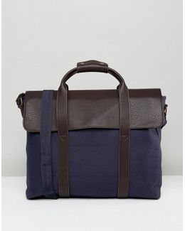 Satchel With Foldover Top In Navy Canvas