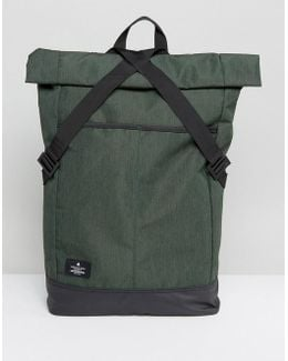 Roll Top Backpack In Green With Laptop Insert