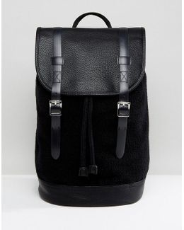 Backpack In Black Borg With Faux Leather