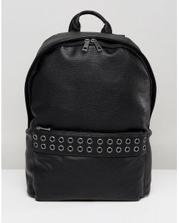 Backpack In Grain Faux Leather With Eyelet Detail