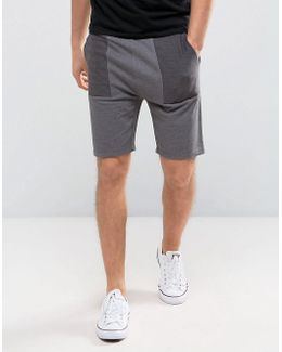Skinny Jersey Shorts With Contrast Panels