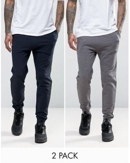 Skinny Joggers 2 Pack Charcoal Marl/ Navy Save