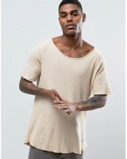 Waffle Knitted Relaxed Fit T-shirt In Nude