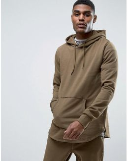 Olive Tracksuit Hoodie With Curved Hem And Concealed Side Zips