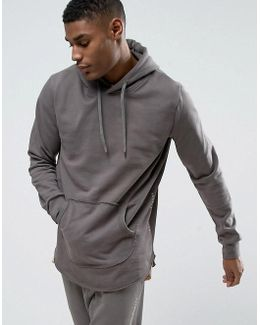 Slate Tracksuit Hoodie With Curved Hem And Concealed Side Zips