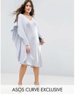 Assymetric Drape Midi Dress With One Sleeve
