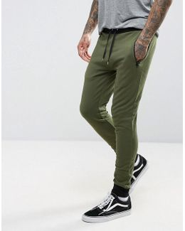 Super Skinny Joggers With Zips In Green