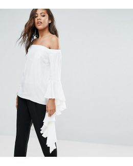 Y.a.s Studio Tall Anru Long Sleeve Flounce Detail Top