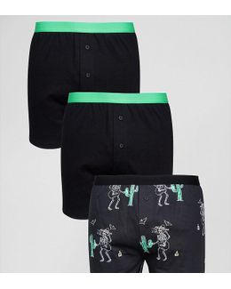 Jersey Boxers With Skeleton Design 3 Pack