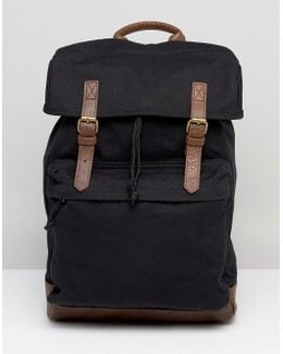 Backpack In Black Canvas With Faux Leather Trims