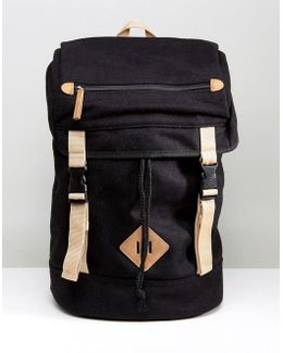 Hiker Backpack In Black Melton With Contrast Trims