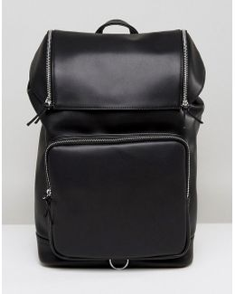 Backpack In Faux Leather With Chunky Zip Details