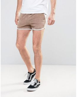 Jersey Runner Short In Beige Velour