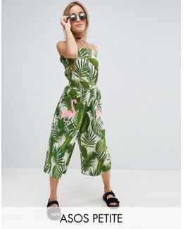 Bandeau Jumpsuit In Print With Embellished Flamingo