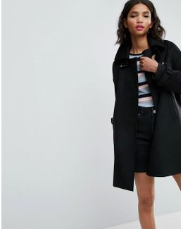 Oversized Coat With Buckle Funnel Neck