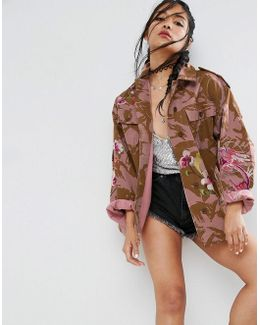 Jacket In Pink Camo With Dragon And Blossom Embroidery