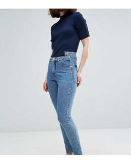 Kimomo Acid Wash Pocket Detail Mom Jeans