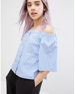 3/4 Sleeve Striped Bardot Top
