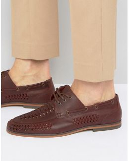 Lace Up Shoes In Woven Burgundy Leather