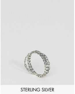 Sterling Silver Chain Kiss Ring