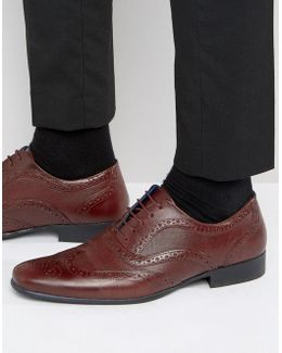 Etched Brogues In Burgundy Leather