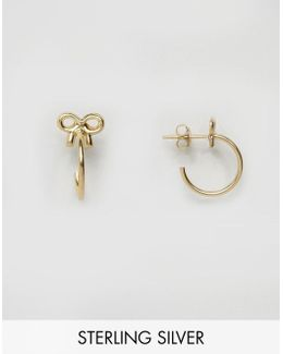Gold Plated Sterling Silver Bow 24mm Hoop Earrings