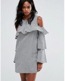 Layered Frill Gingham Cold Shoulder Dress