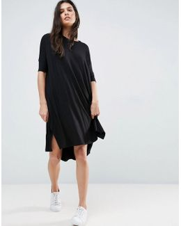 Oversize T-shirt Dress With Curved Hem