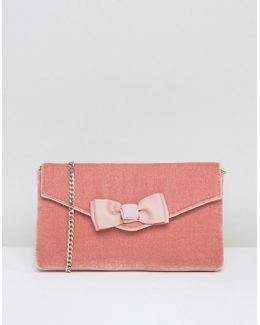 Breya Blush Velvet Clutch Bag