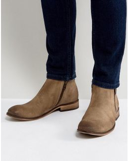 Chelsea Boots In Stone Suede With Double Zip