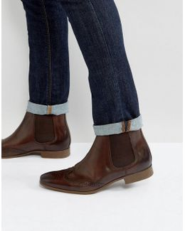 Chelsea Brogue Boots In Brown Leather