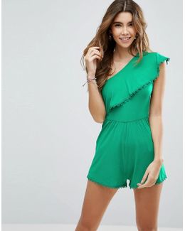 One Shoulder Ruffle Playsuit With Trim