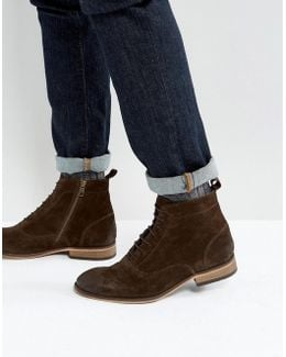 Lace Up Boots In Brown Suede With Natural Sole