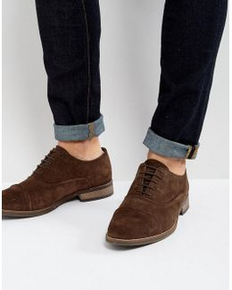 Oxford Shoes In Brown Suede With Binding Detail