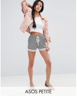 Stripe Shorts With Lace Hem
