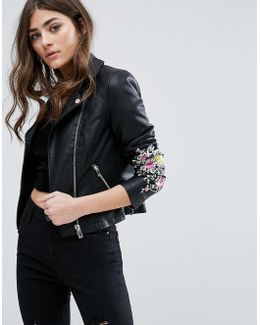 Miss Selfrdige Embroidered Faux Leather Jacket