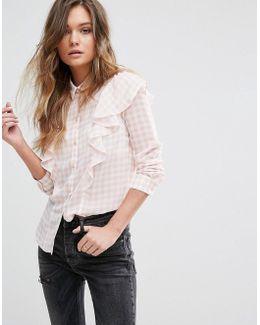 Miss Selfrdige Gingham Ruffle Shirt