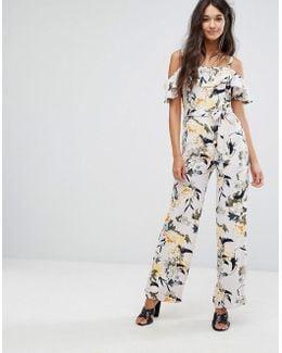 Printed Ruffle Jumpsuit
